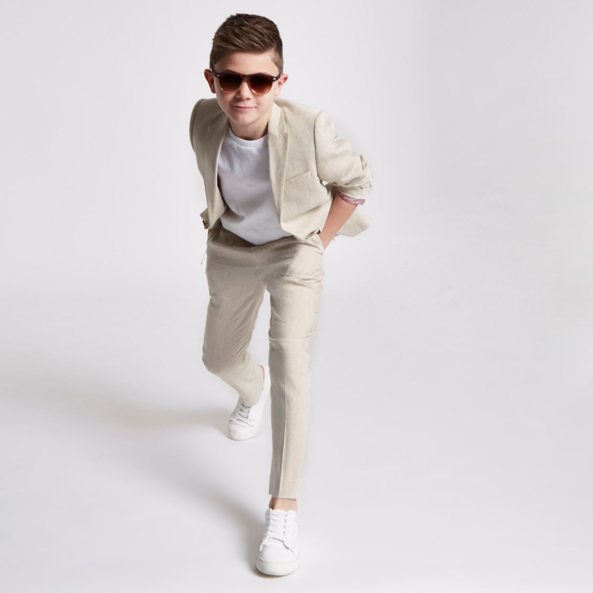 Boys cream suit jacket with linen
