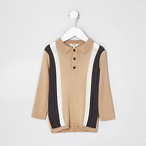 Mini boys beige stripe knit polo shirt
