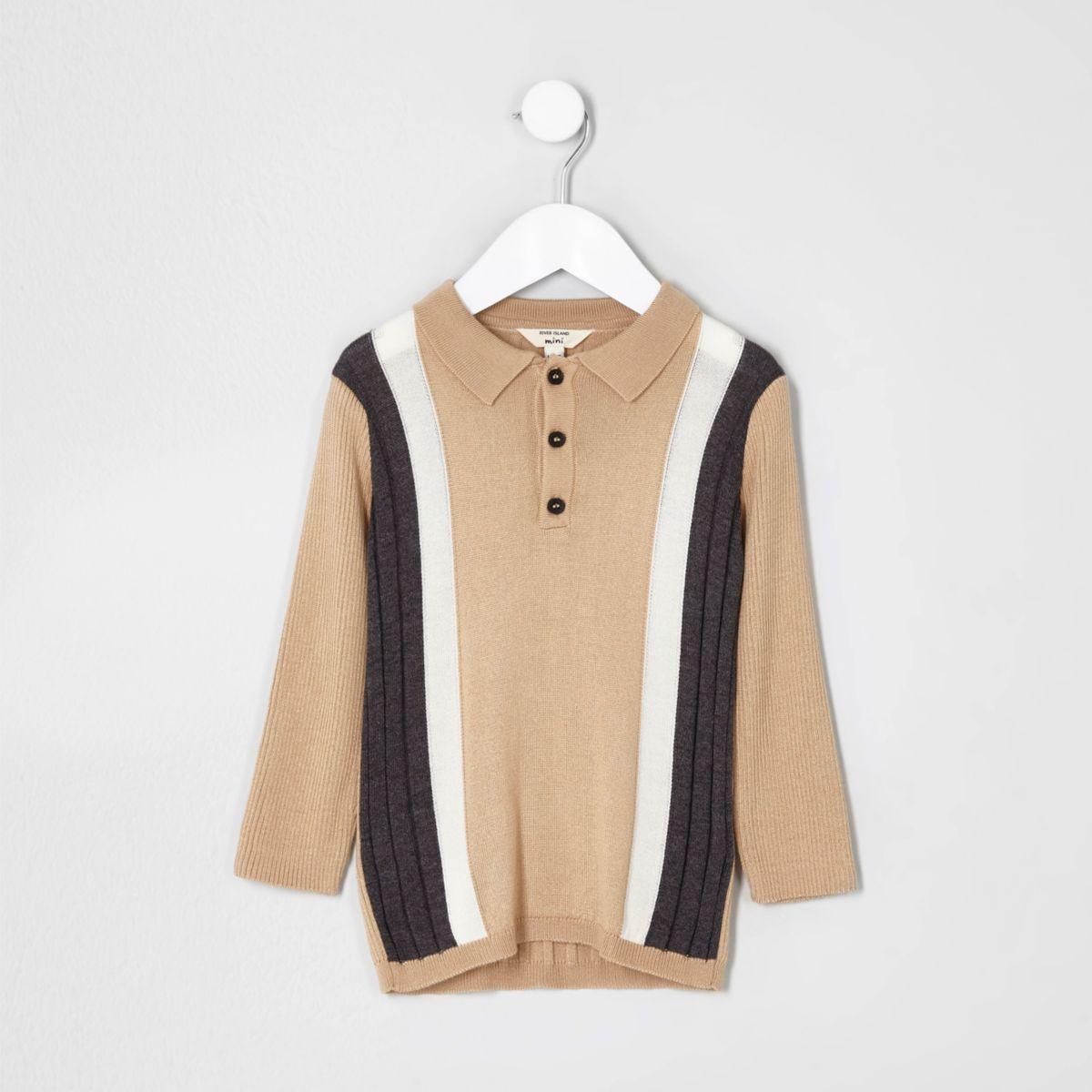 Mini boys beige stripe knit polo shirt