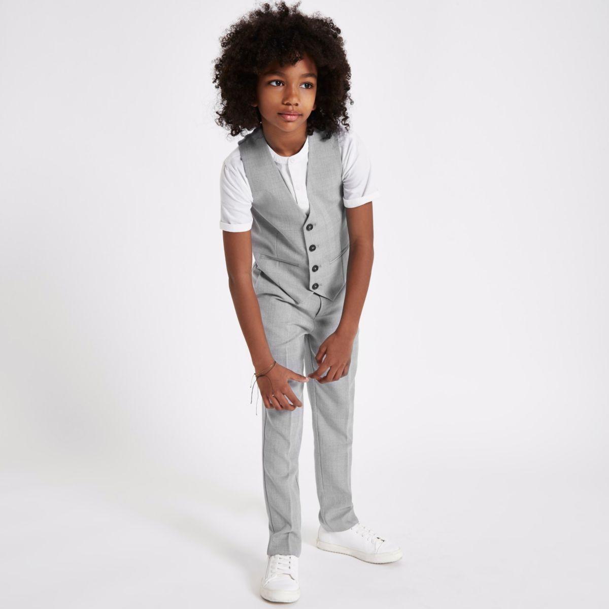 Boys grey check suit waistcoat