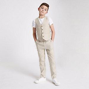 Gilet de costume en lin crème garçon