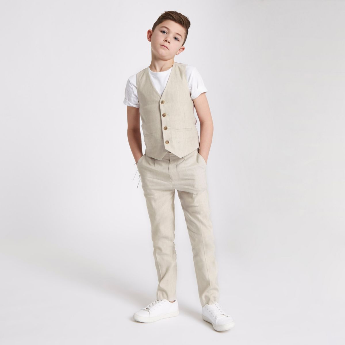 Boys cream suit vest with linen