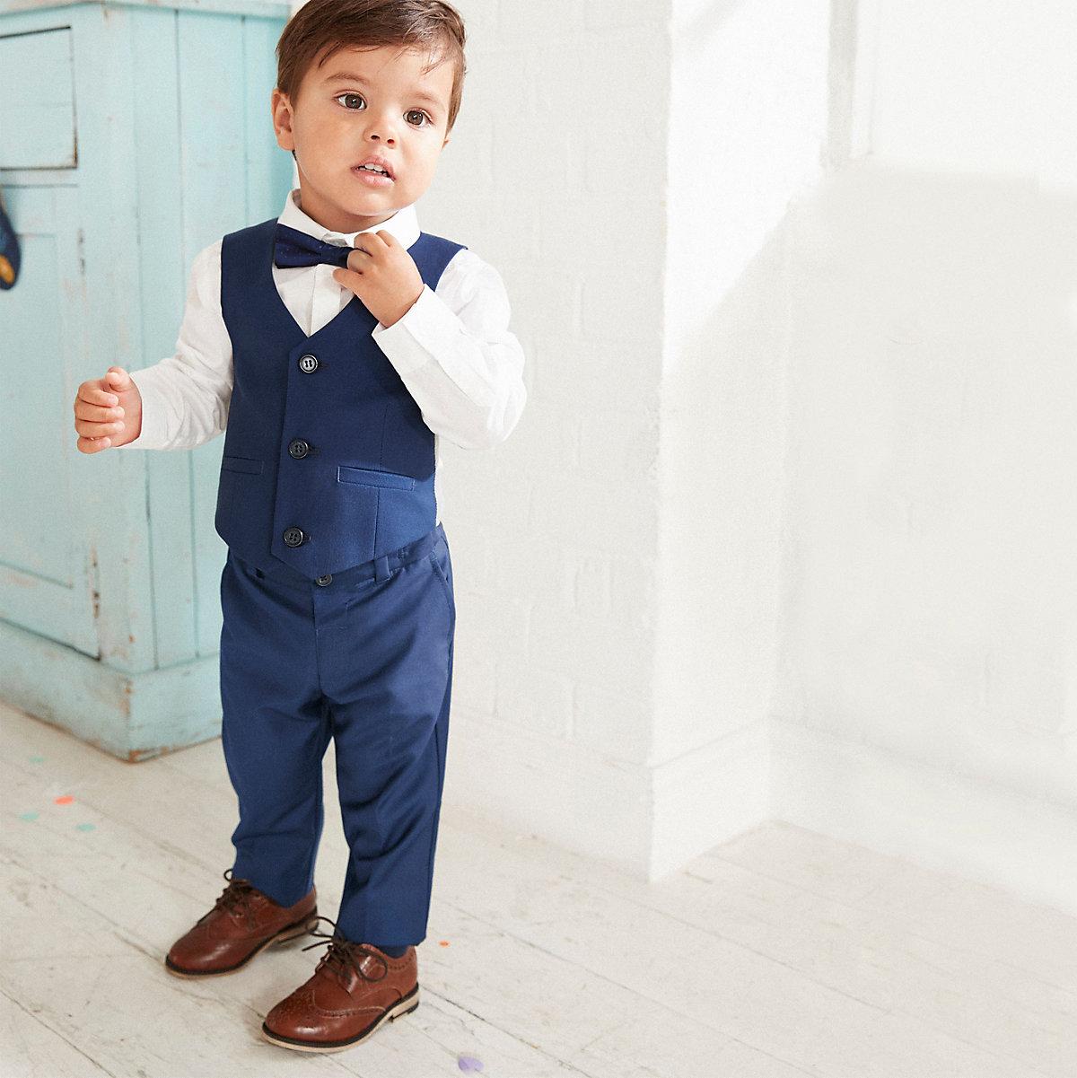 Mini boys navy shirt and pants suit set