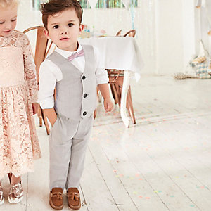 Mini boys grey check three piece suit set