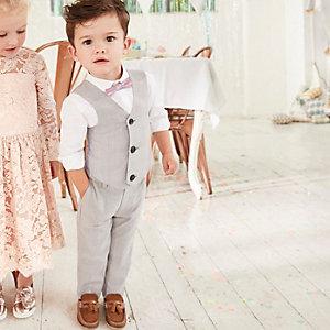 Mini - Vierdelige grijze geruite kostuumset voor jongens
