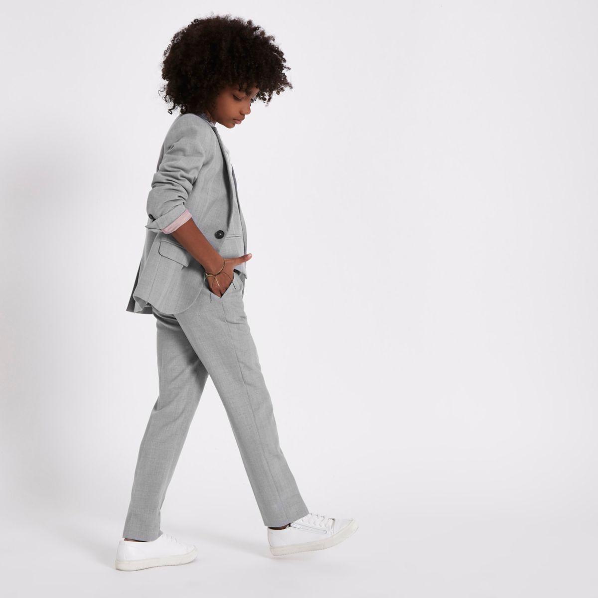 Grau karierte Anzughose für Jungen