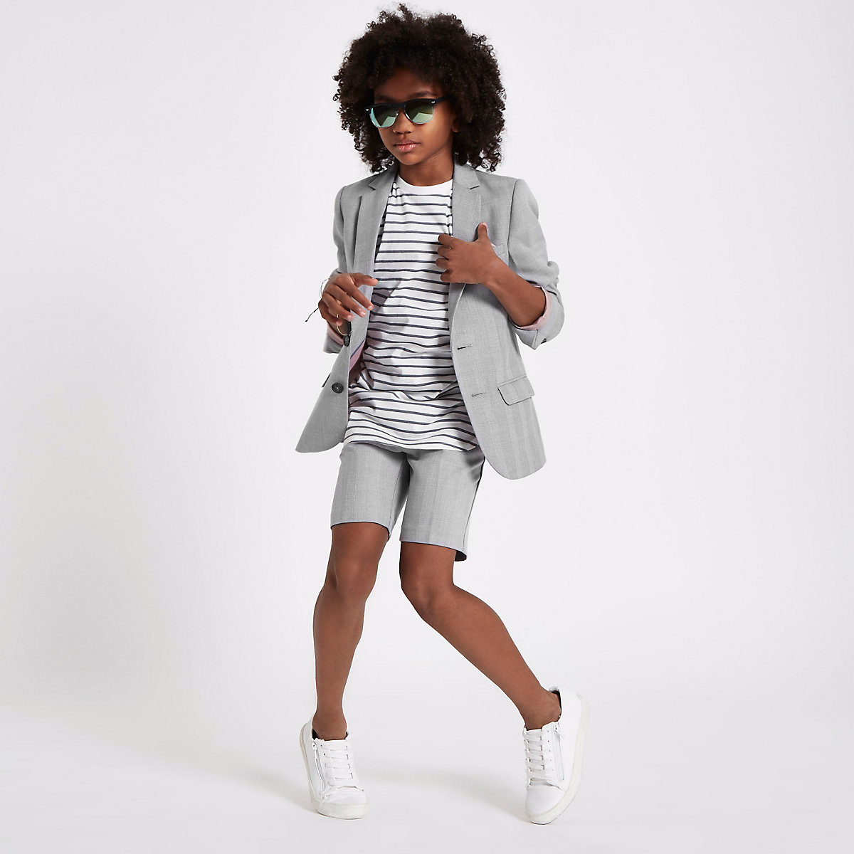 Boys grey check suit shorts