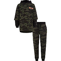 Boys khaki camo double layer hoodie outfit