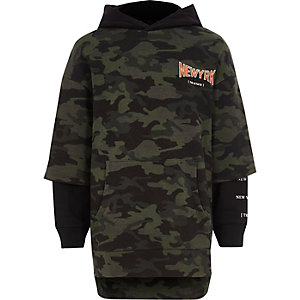 Boys khaki camo double layer hoodie