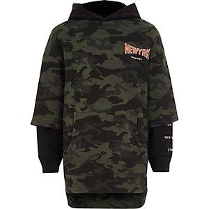 Kaki hoodie met twee lagen voor jongens