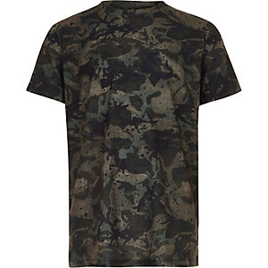 Boys khaki camo paint splat print T-shirt