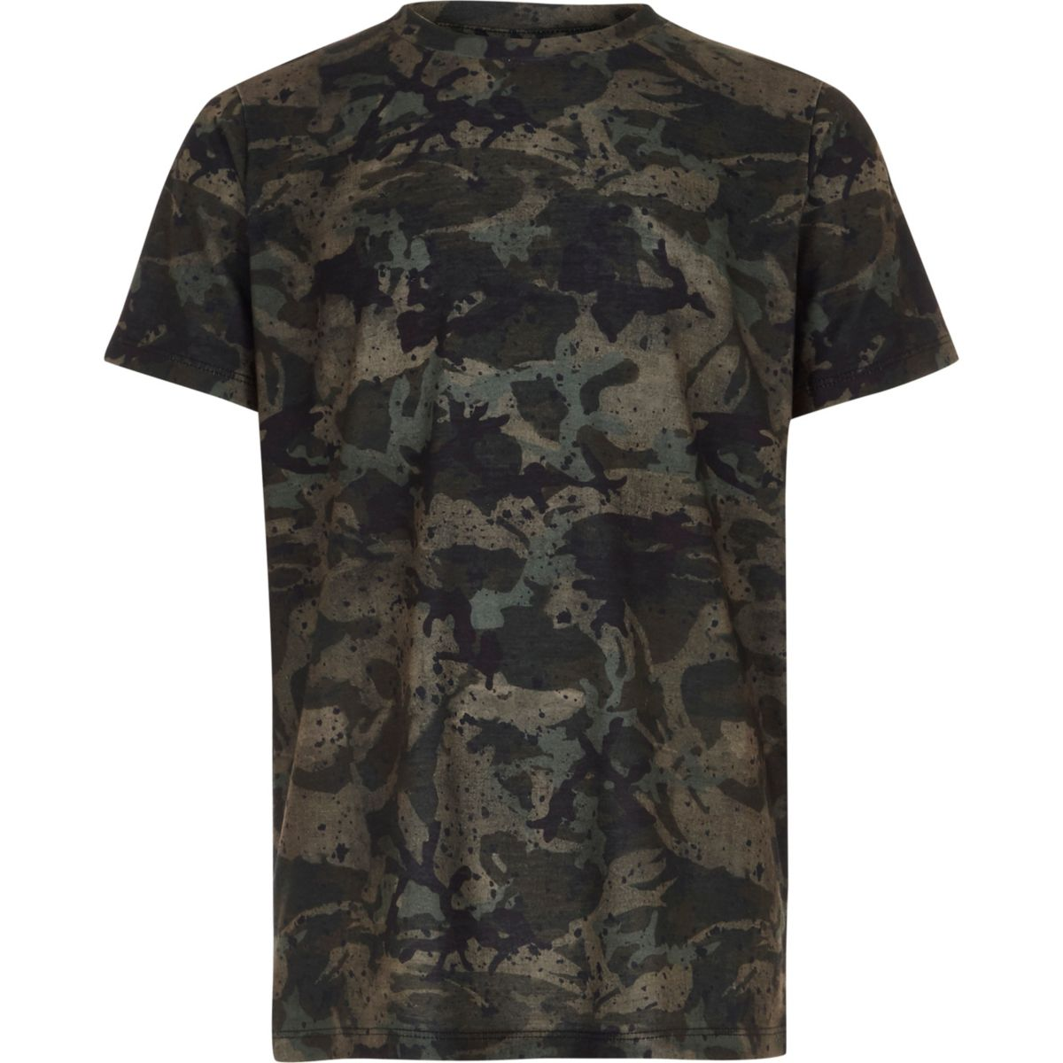 Boys khaki camo paint splat print T-shirt
