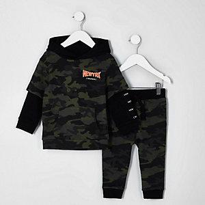 Mini boys khaki camo print hoodie outfit