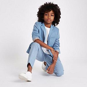 Blaue Anzugsjacke mit Leinen