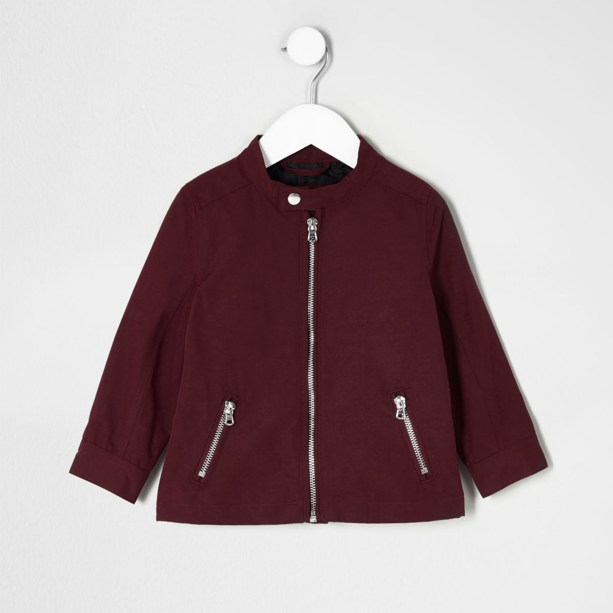 Mini boys dark red racer neck jacket