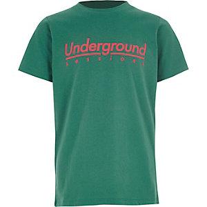T-shirt à imprimé «Underground» vert pour garçon