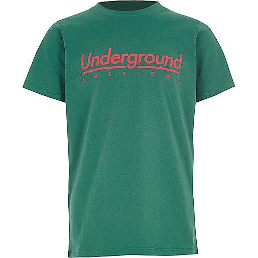 Boys green 'underground' print T-shirt