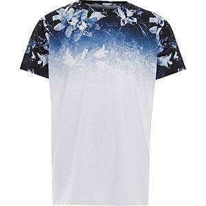 T-shirt bleu à imprimé à fleurs délavé pour garçon