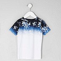 Mini boys blue floral fade print T-shirt
