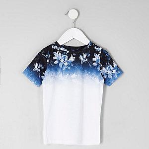 T-shirt bleu à imprimé à fleurs délavé mini garçon
