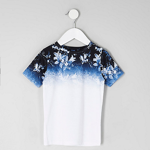 Mini boys blue floral fade print T-shirt