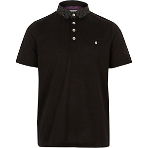 Boys black polka dot collar polo shirt