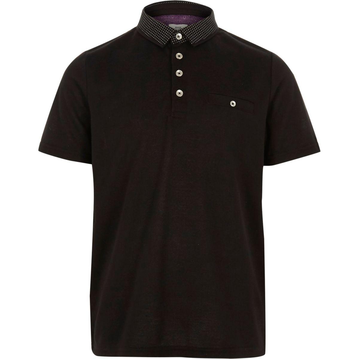 Boys black polka dot collar polo shirt