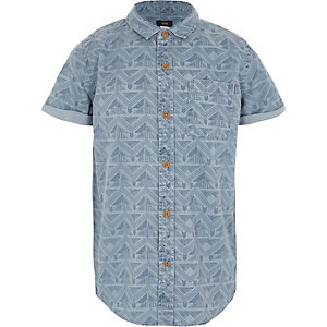 Boys blue aztec print short sleeve shirt