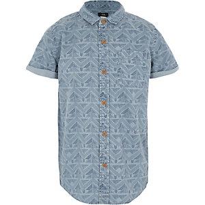 Blauw overhemd met aztekenprint en korte mouwen voor jongens