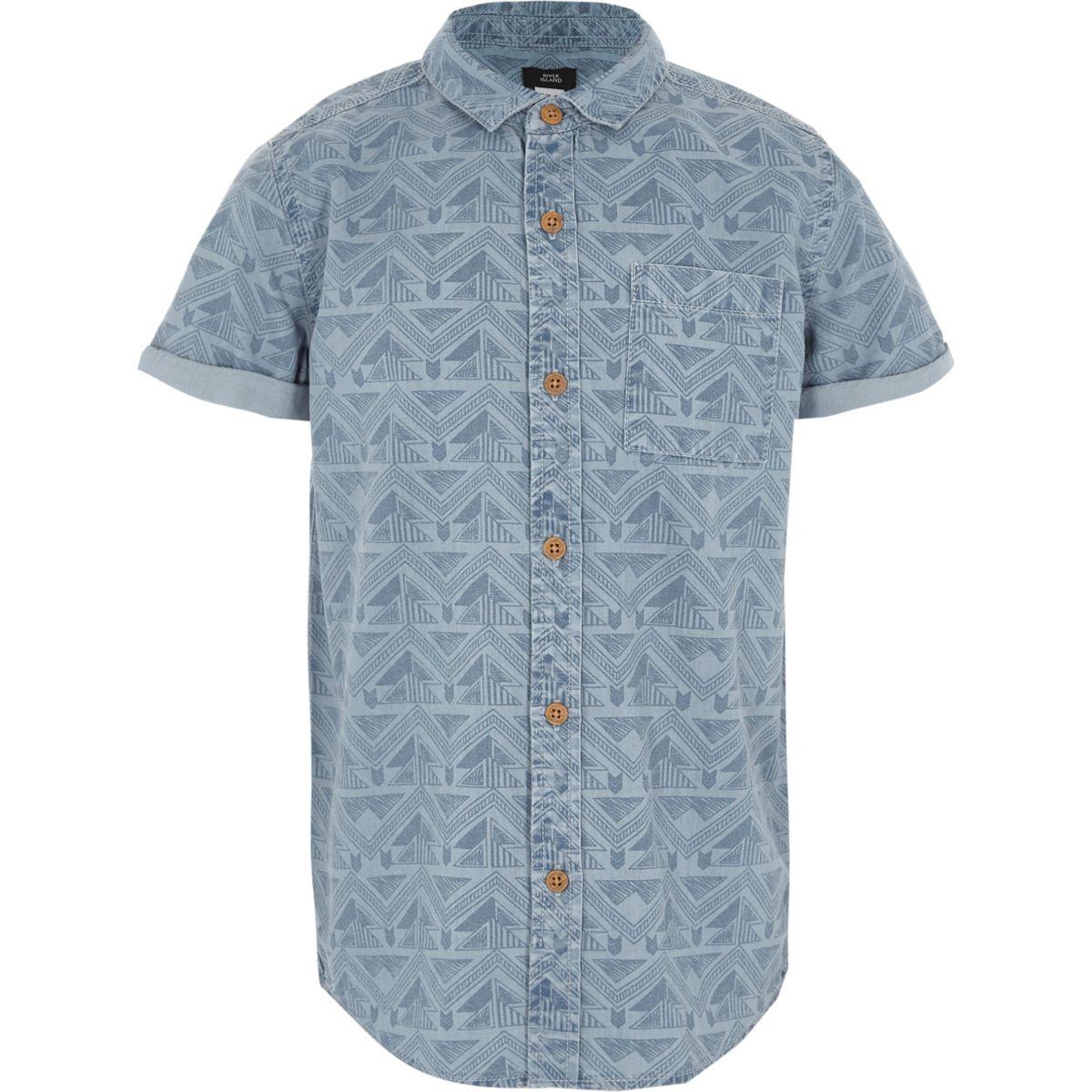 Boys blue aztec print short sleeve shirt
