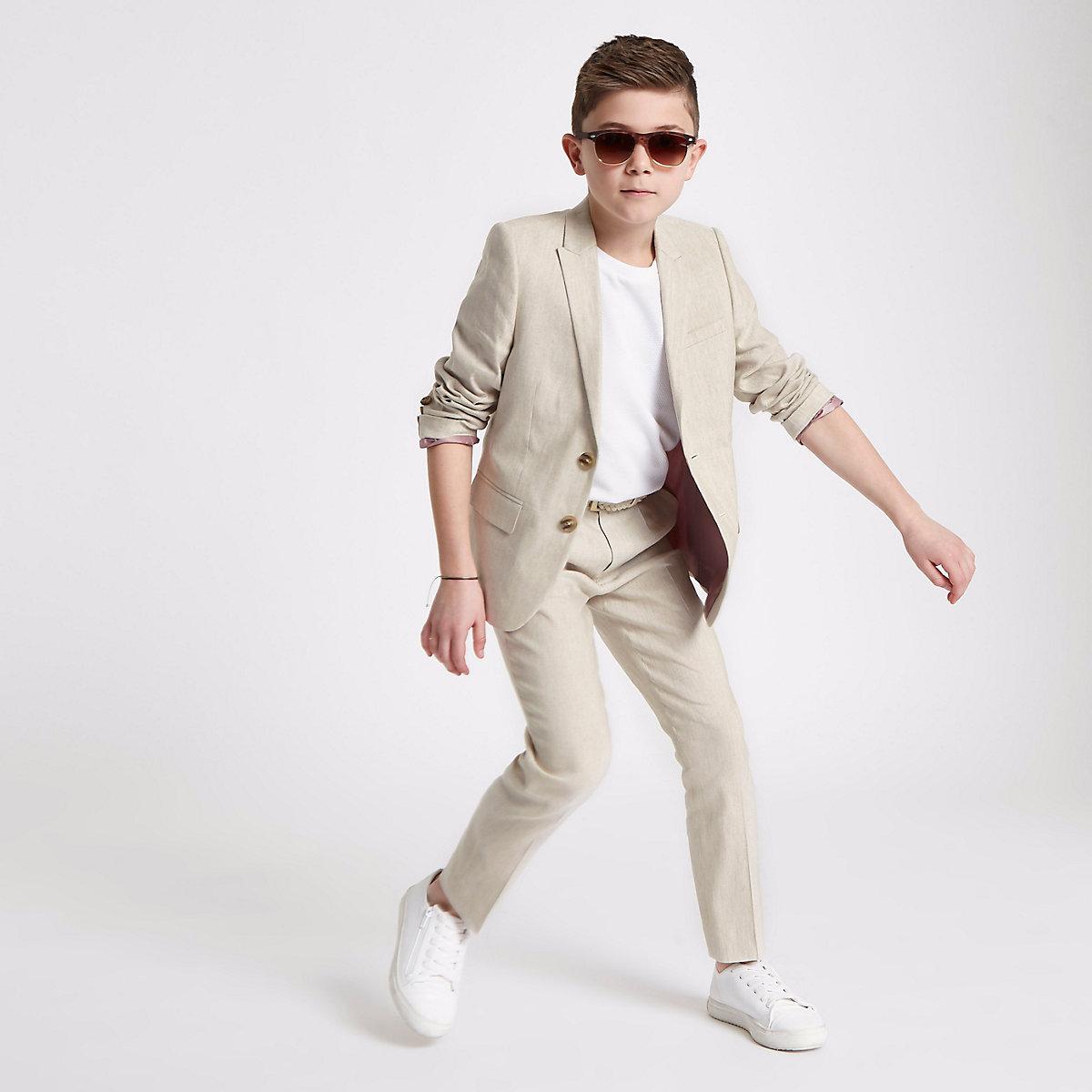 Boys cream suit pants with linen