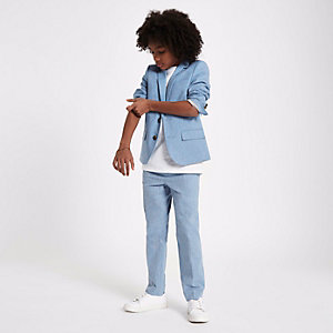 Boys blue suit trousers with linen