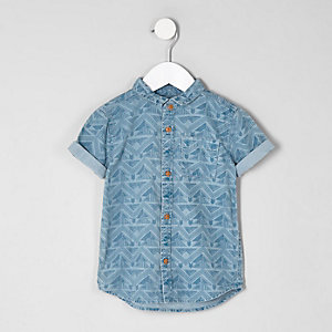 Mini boys blue aztec denim shirt