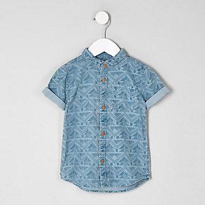 Mini - Blauw denim overhemd met aztekenprint voor jongens