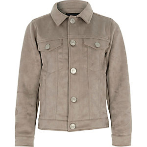 Boys light brown faux suede trucker jacket