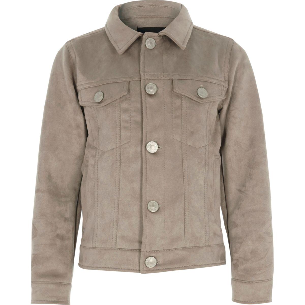 Boys light brown faux suede trucker jacket