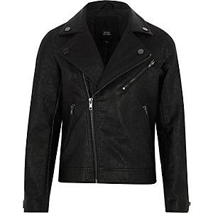Schwarze Bikerjacke aus Lederimitat