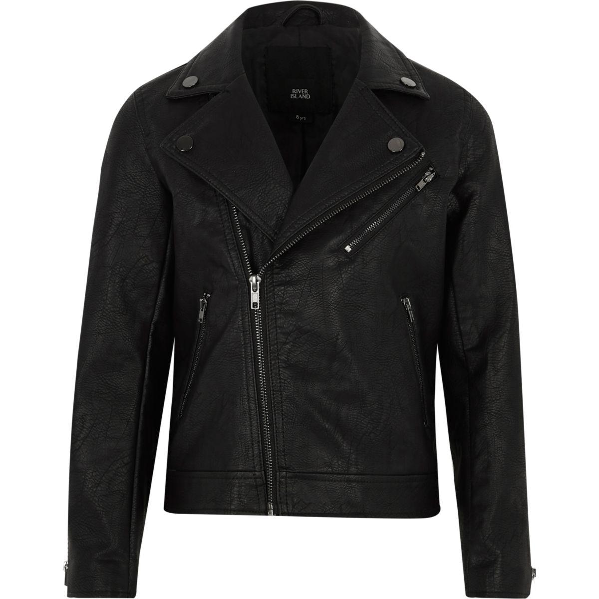 Boys black faux leather biker jacket