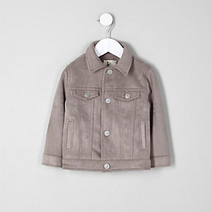Mini boys grey faux suede trucker jacket