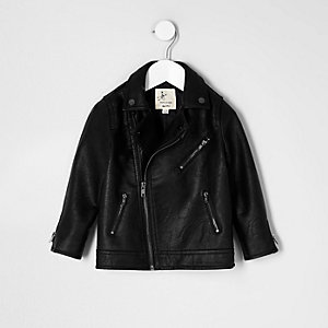 Mini boys black faux leather biker jacket