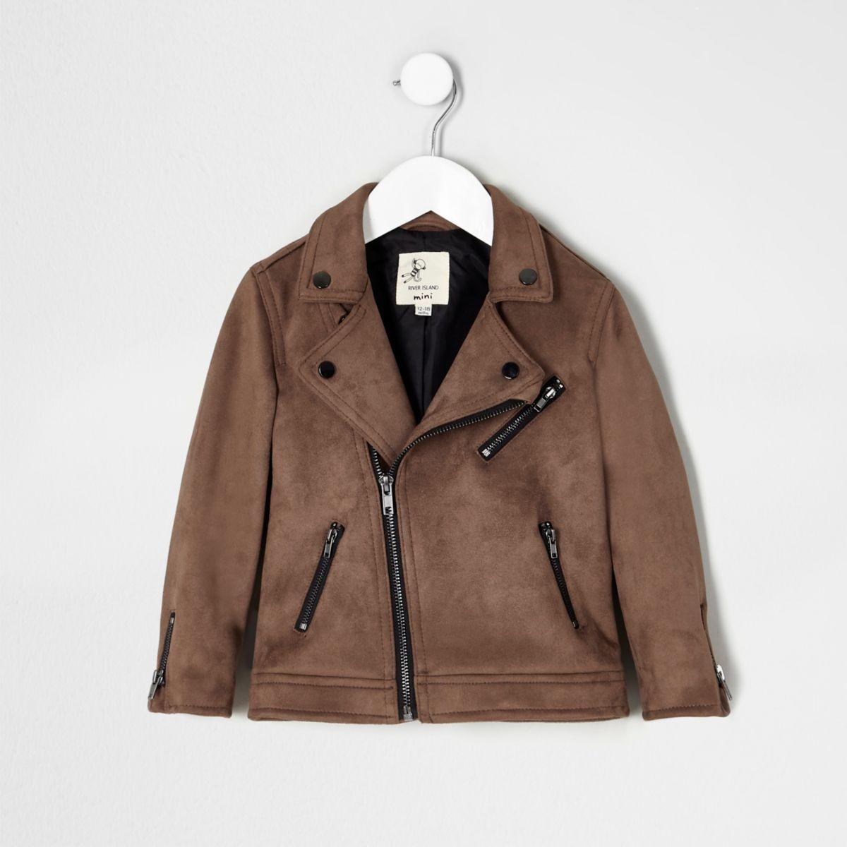 Mini boys brown faux suede biker jacket