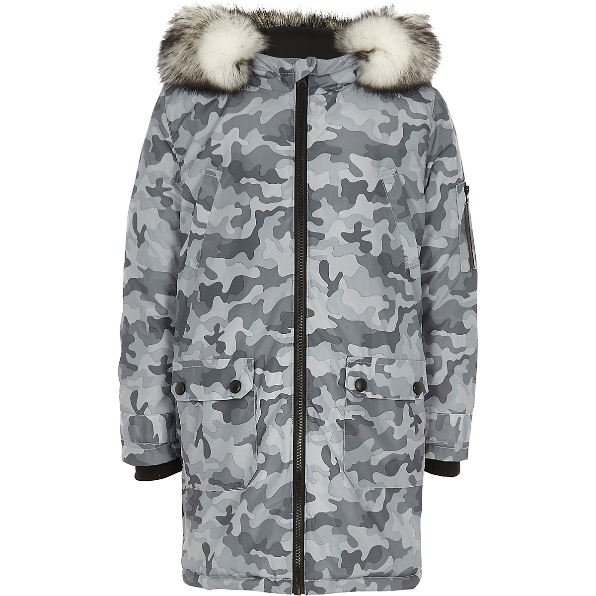 Boys grey camo print faux fur trim parka