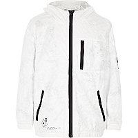 Boys white lightweight hooded jacket