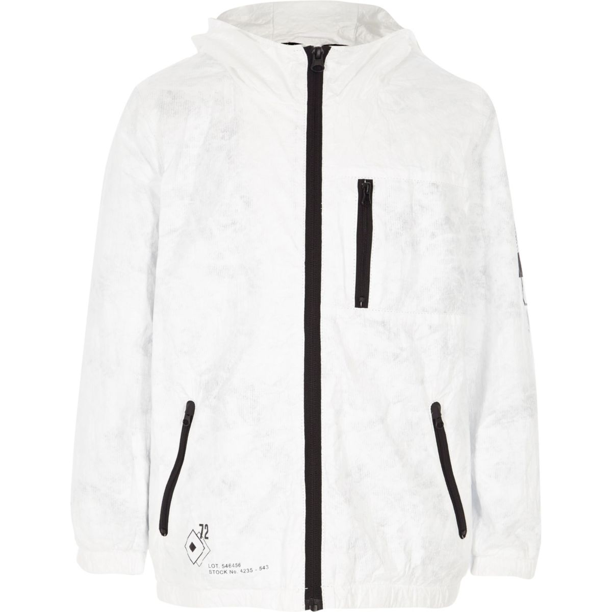 Boys white lightweight hooded jacket