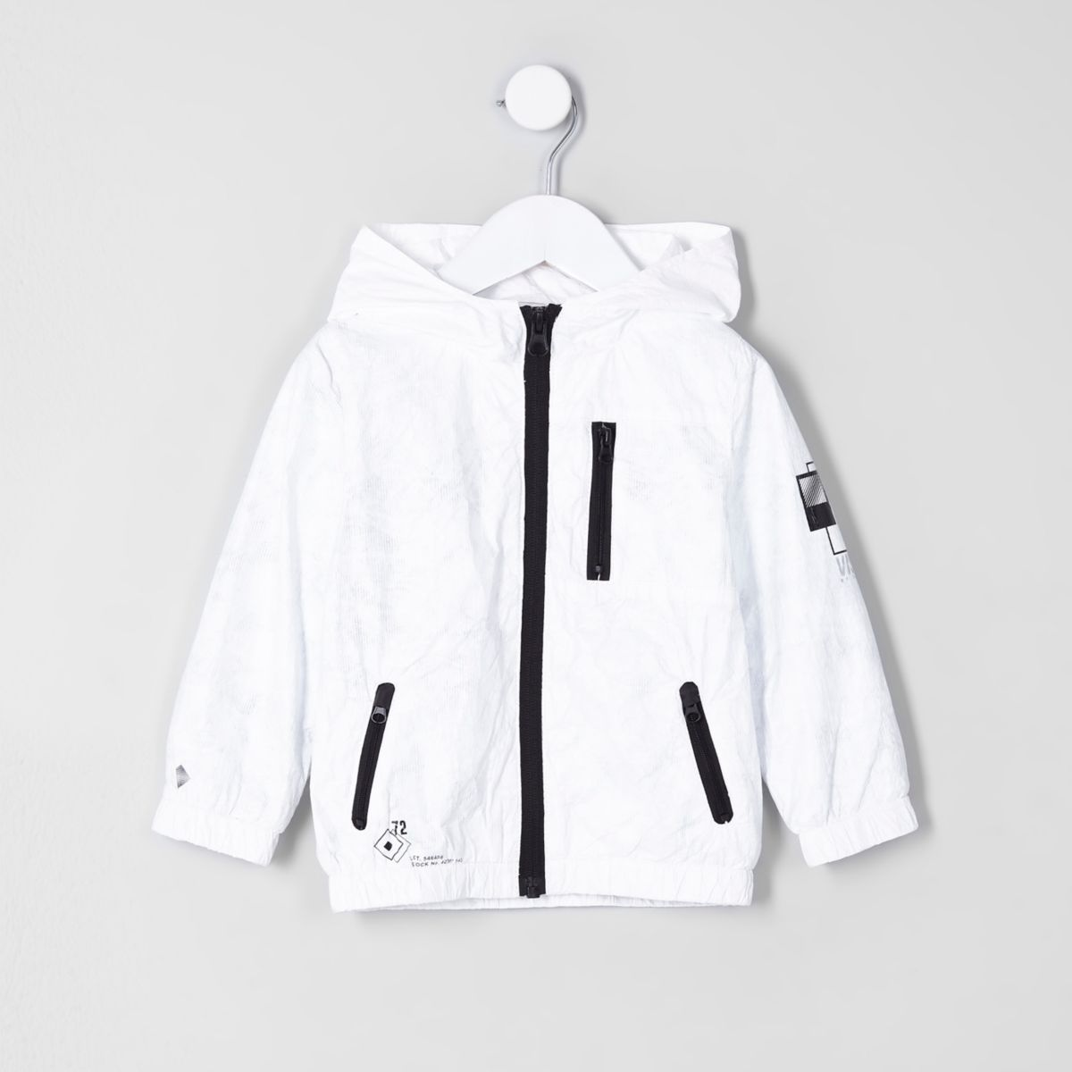 Mini boys white lightweight hooded jacket