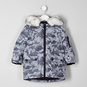 Mini boys grey camo print faux fur trim parka