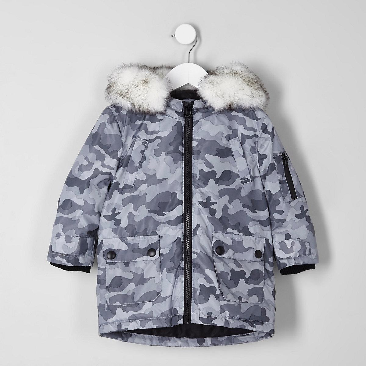 Mini boys grey camo print faux fur trim parka