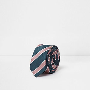Boys navy and pink stripe tie