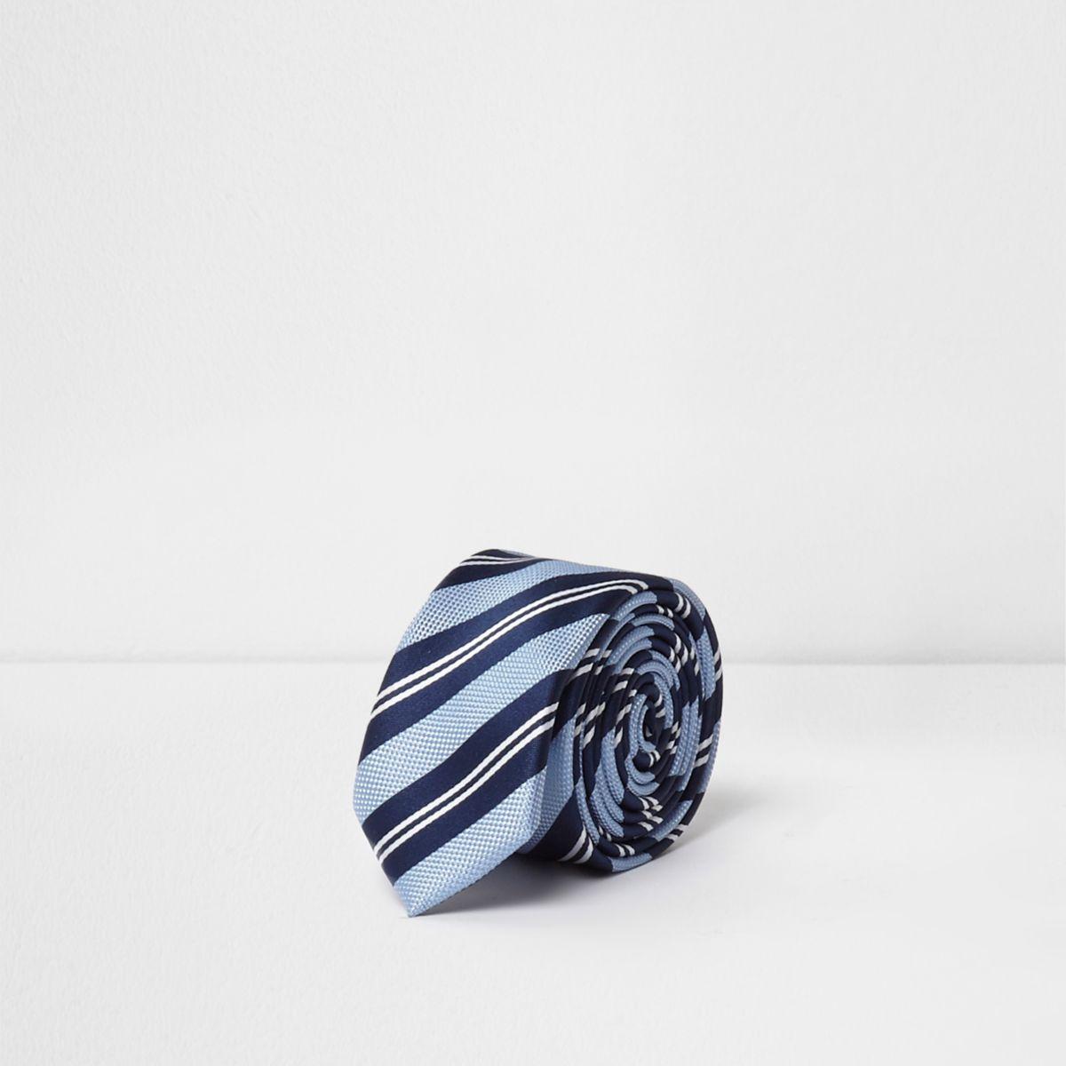 Boys blue stripe tie