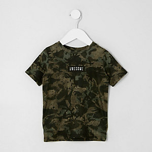 Mini boys khaki green camo T-shirt